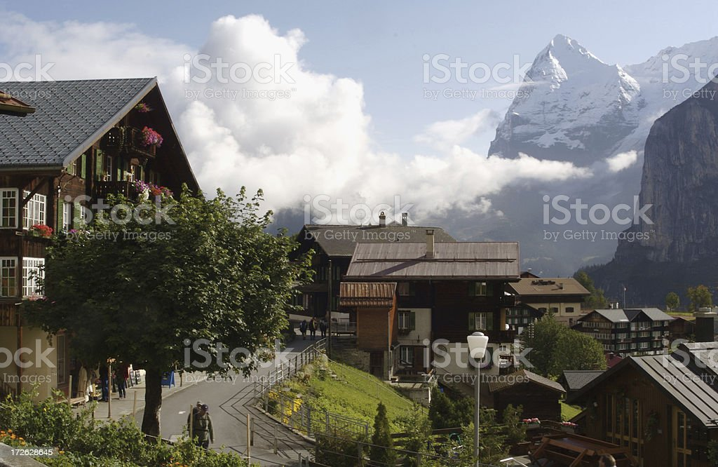 Murren Switzerland and the Eiger Mountain stock photo