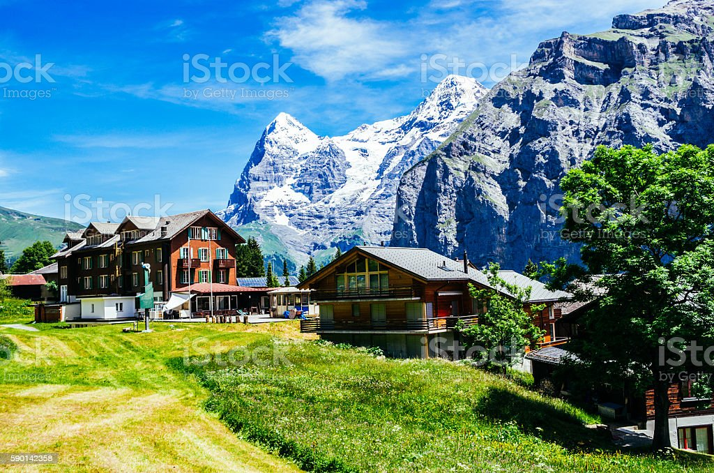Murren, Switzerland, with Eiger stock photo