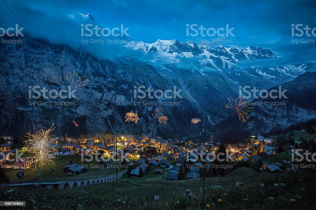 Murren..National Swiss Day Celebration. stock photo