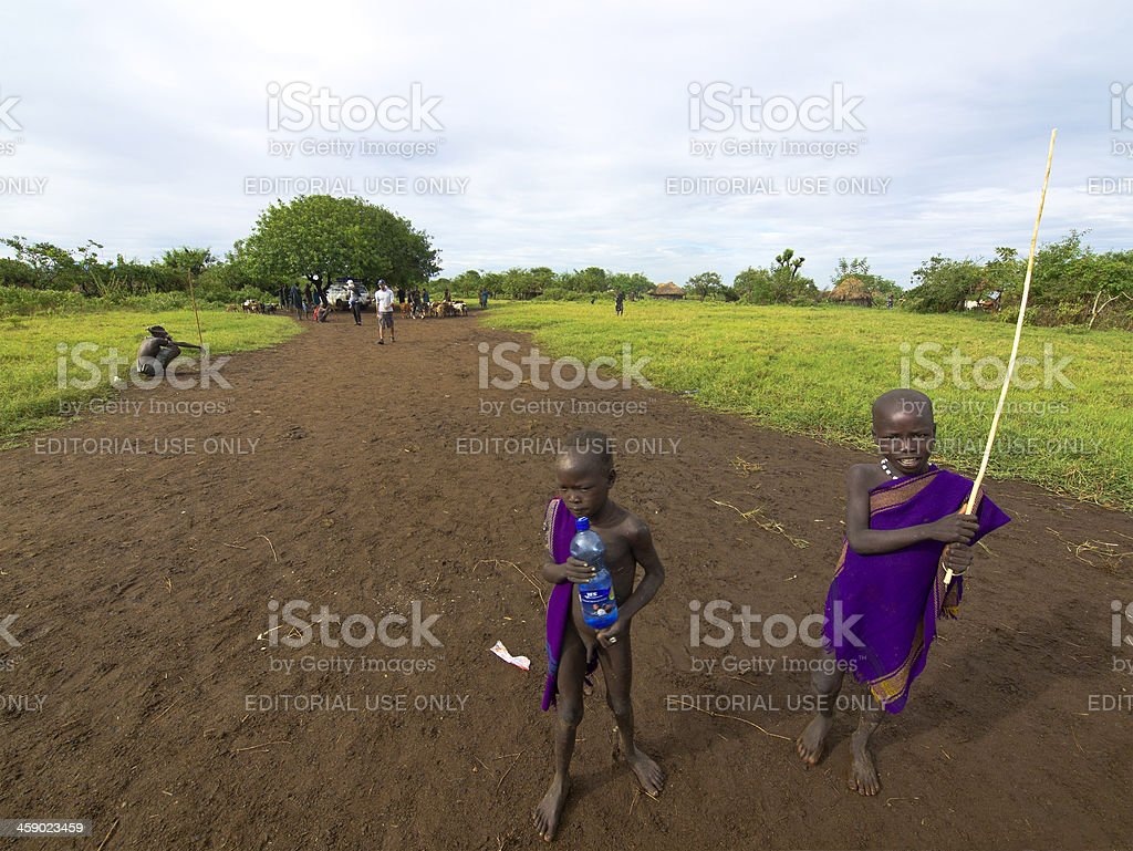 Mursi kids royalty-free stock photo