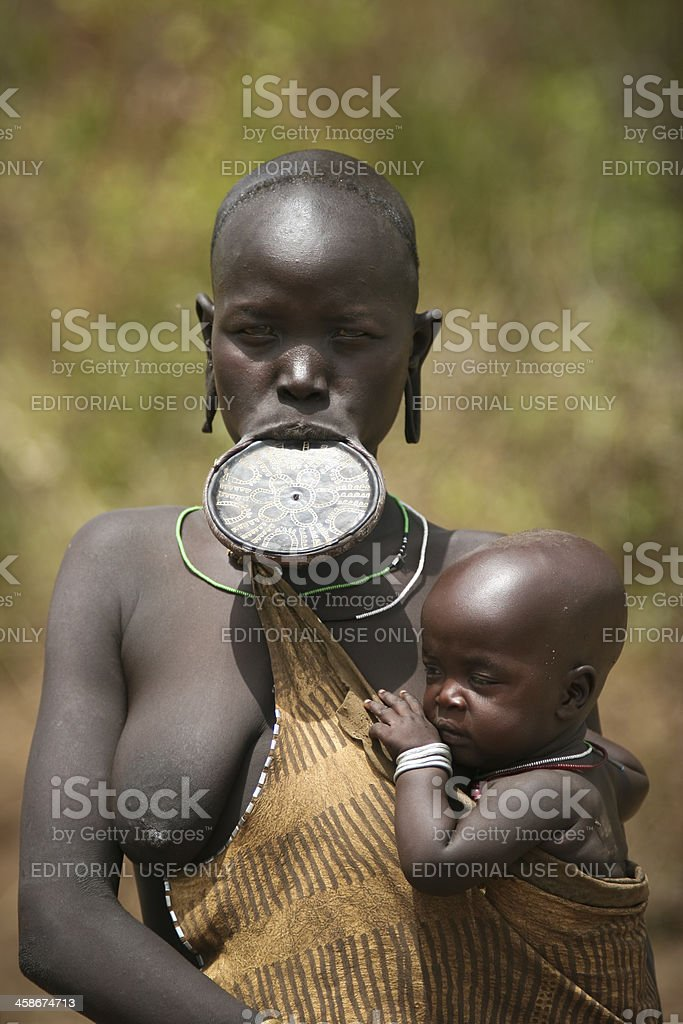 Mursi Mother With Child royalty-free stock photo