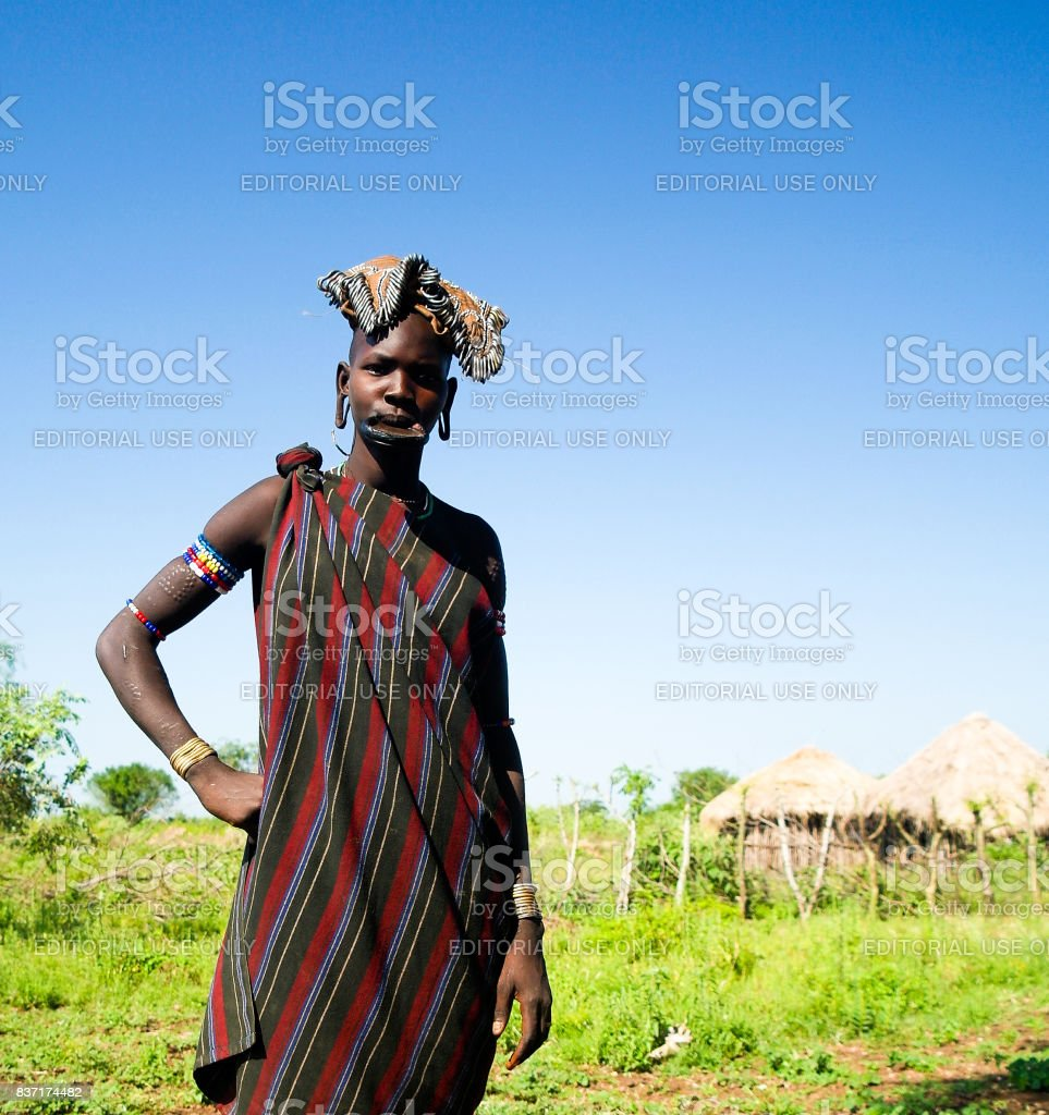Mursi tribe woman at Omo valley, Ethiopia stock photo