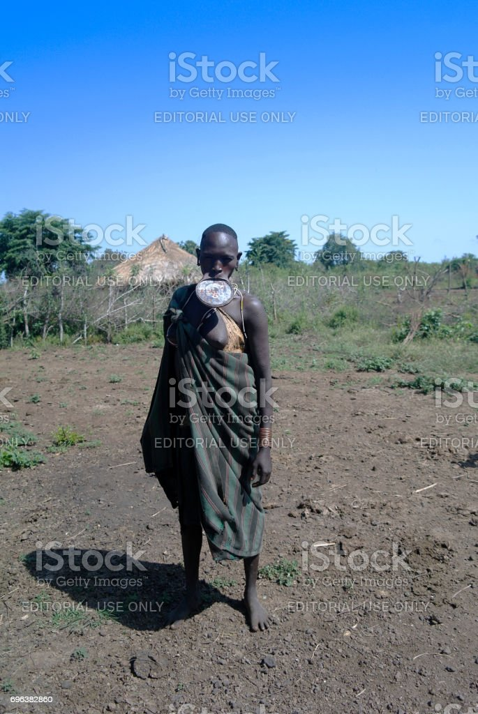 Mursi tribe woman stock photo
