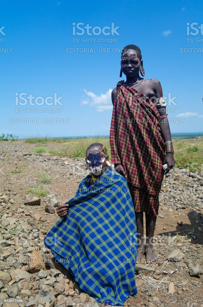 Mursi tribe women at Omo valley, Ethiopia stock photo