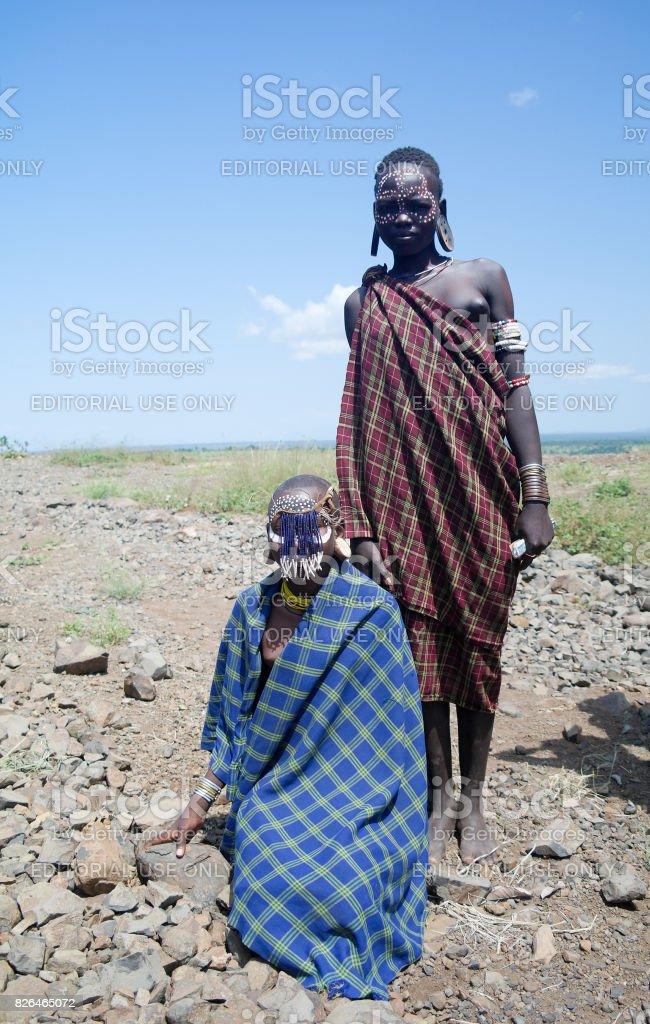 Mursi tribe women at Omo valley, Ethiopia stock photo