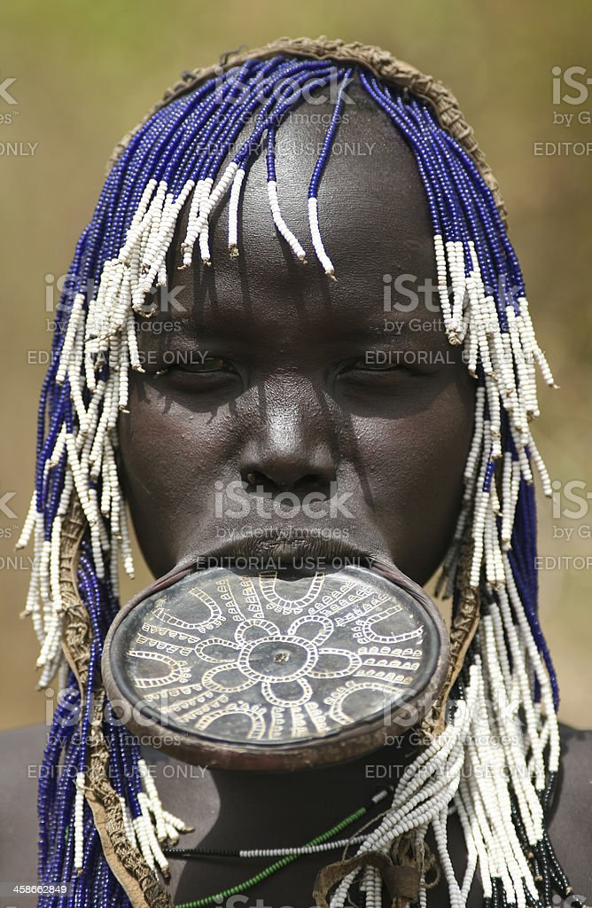 Mursi Woman With Lip Plate royalty-free stock photo