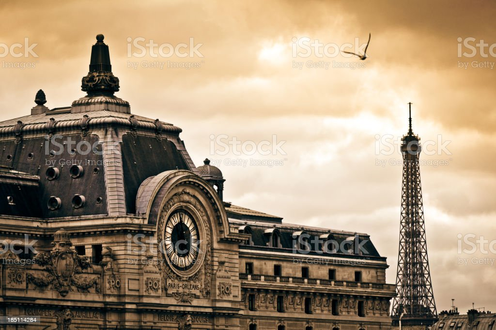 Musée d'Orsay and Tour Eiffel in Paris at Sunset, France stock photo