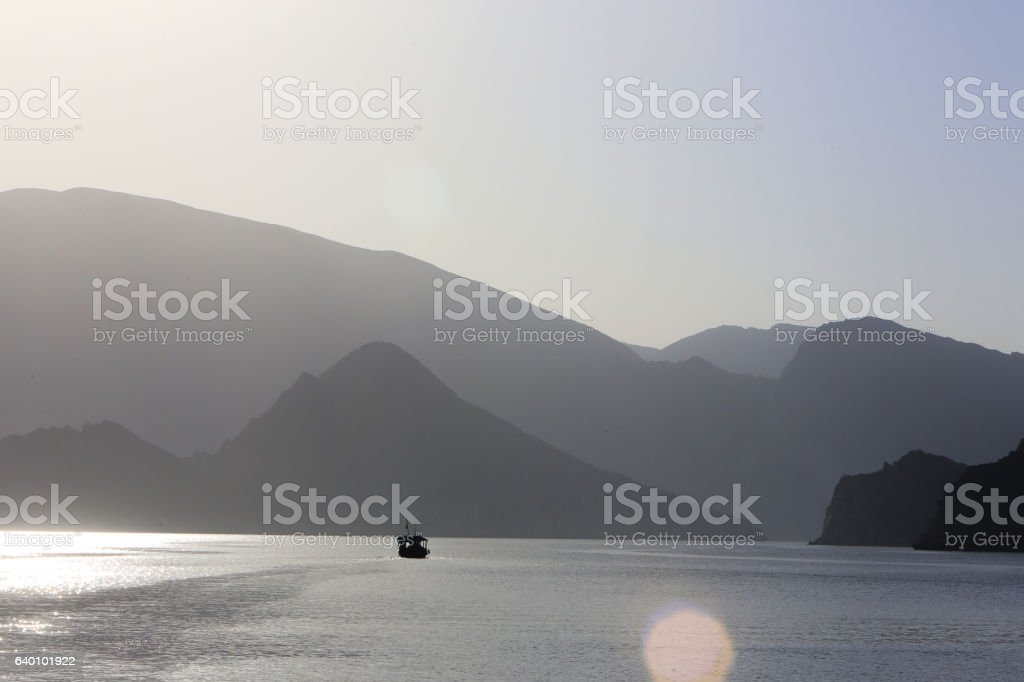 Musandam Peninsula at dusk, Sultanate of Oman stock photo
