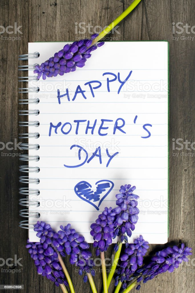Muscari bouquet and notepad with words 'happy mother's day' stock photo