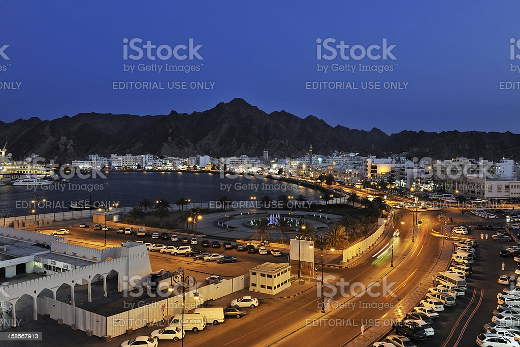 Muscat by night stock photo