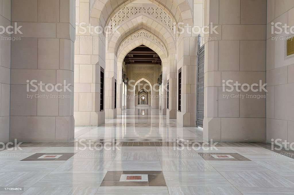 Muscat Grand Mosque Archway And Tile royalty-free stock photo