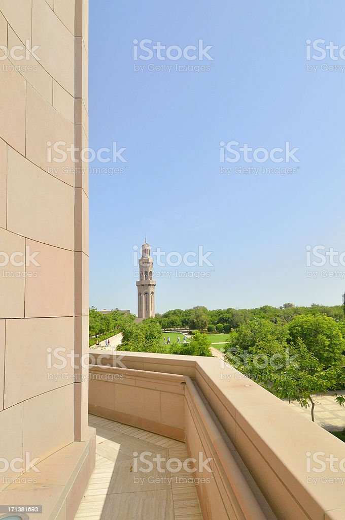 Muscat Grand Mosque Gardens and Minaret royalty-free stock photo