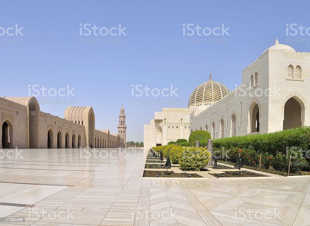 Muscat Grand Mosque Marble Plaza royalty-free stock photo