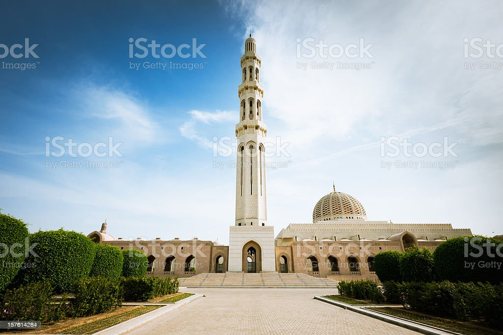 Muscat Oman Grand Mosque in Green Park royalty-free stock photo