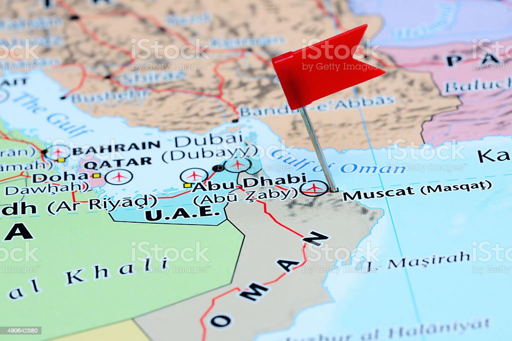Muscat pinned on a map of Asia stock photo