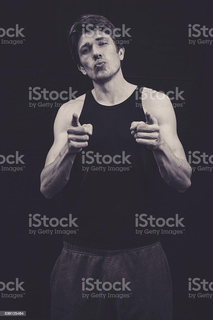 Musclar man in a studio stock photo
