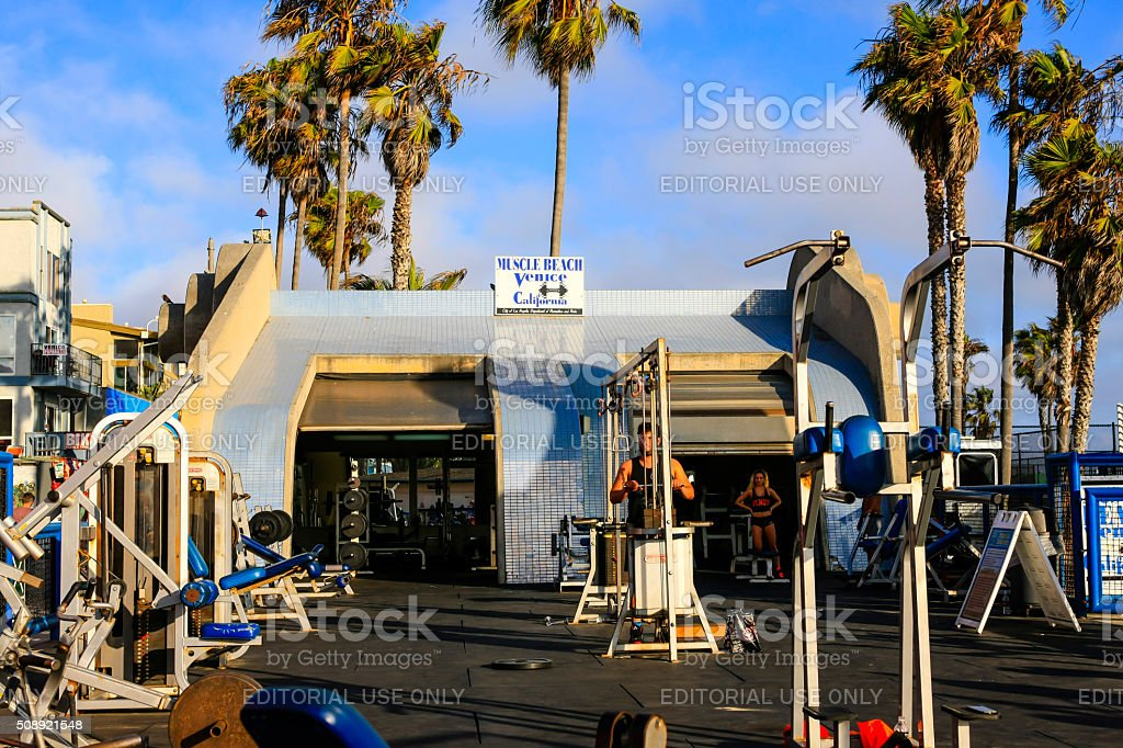 Muscle beach outdoor gym on Venice beach in California stock photo