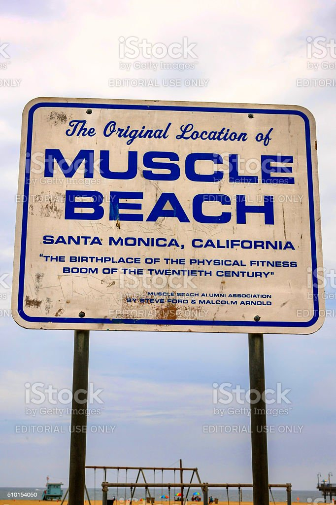 Muscle beach sign in Santa Monica California stock photo