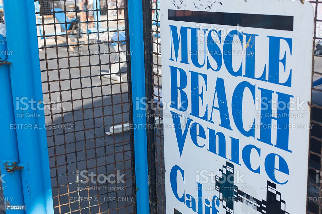 Muscle Beach Sign stock photo