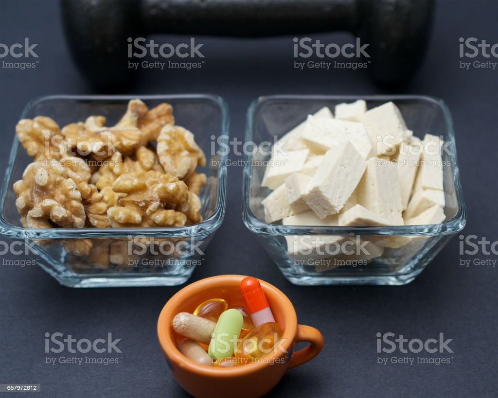 Muscle building the vegan way stock photo