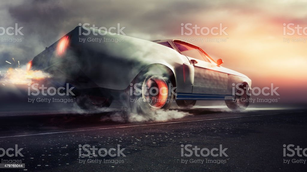 Muscle car on the open road stock photo