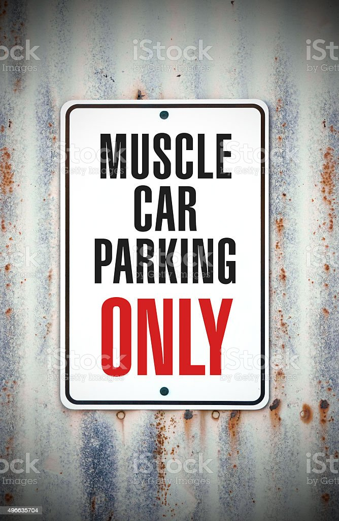 Muscle Car Parking Only stock photo