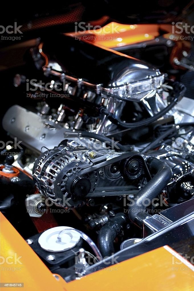 Muscle Car Under the Hood stock photo