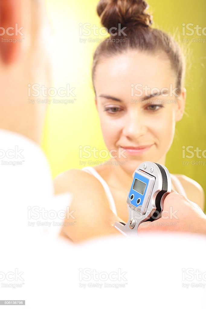 Muscle electrostimulation, treatment and rehabilitation stock photo