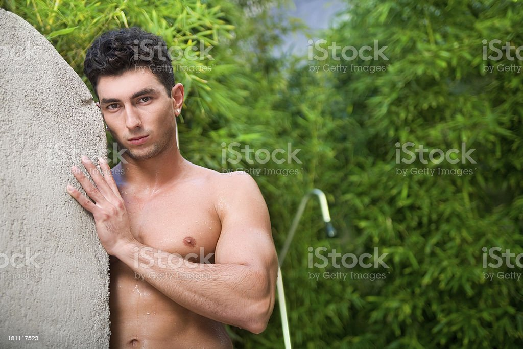 muscle guy stock photo