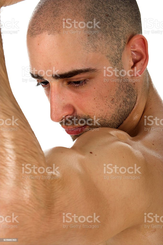 Muscle man arm stock photo