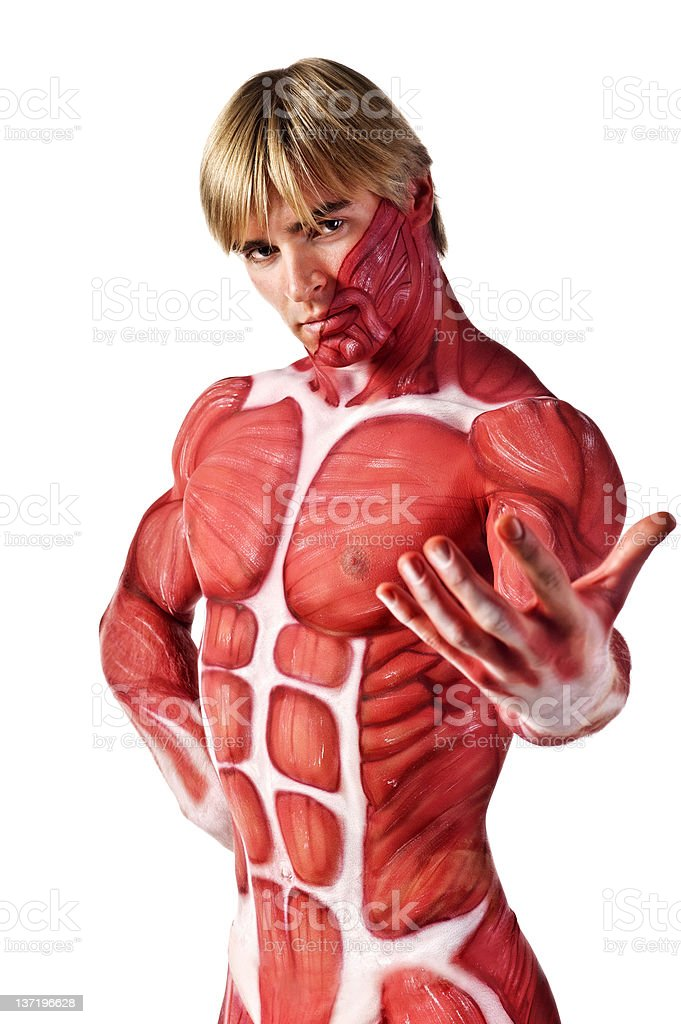 muscle man invites you royalty-free stock photo