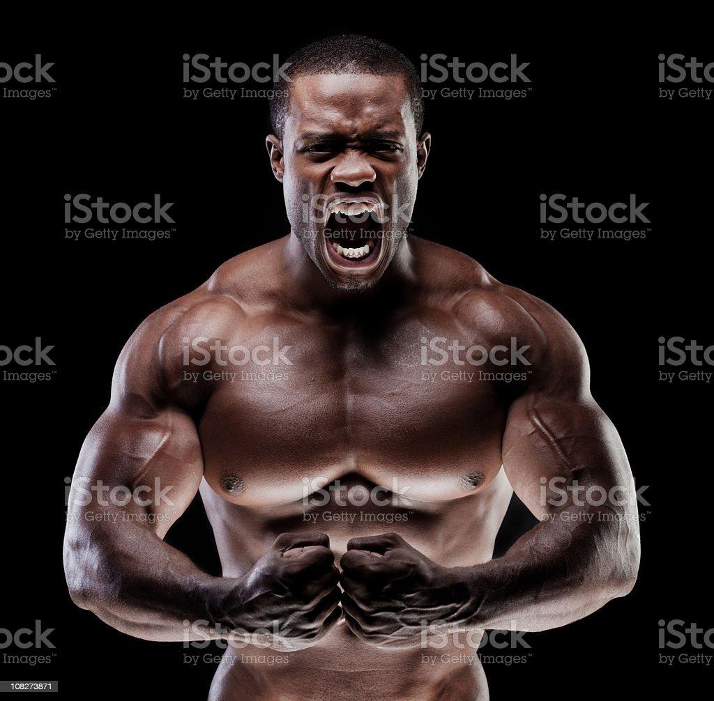 Muscle Man yelling royalty-free stock photo