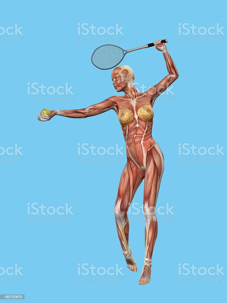 Muscle motion of a woman playing tennis. stock photo