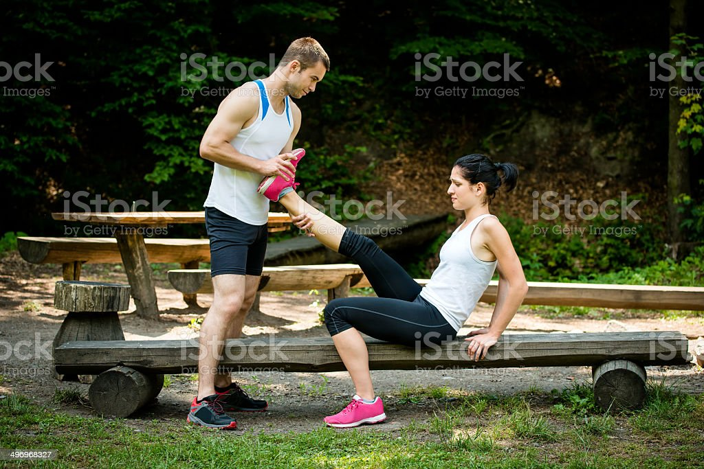 Muscle spasm - after sport training royalty-free stock photo