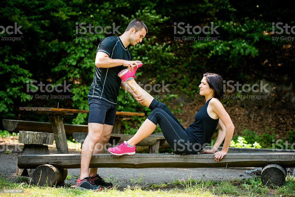 Muscle spasm - after sport training stock photo