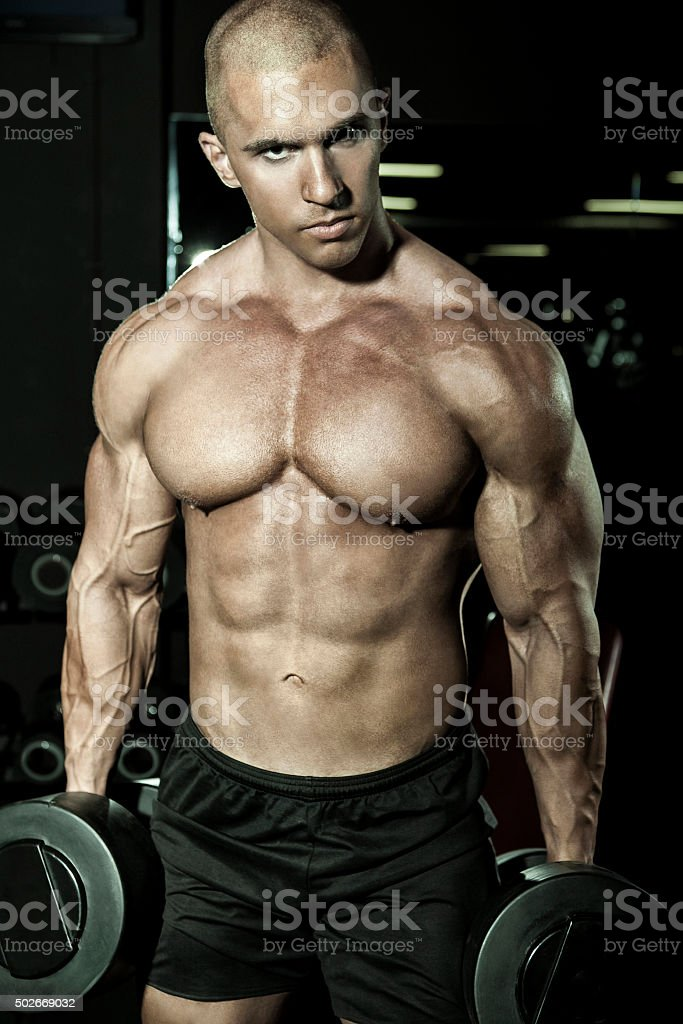 muscled man stock photo