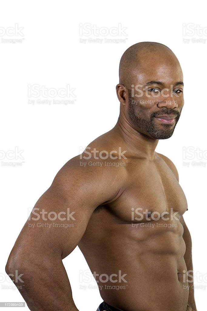Muscular African American Body Builder, Shirtless, Waist Up stock photo