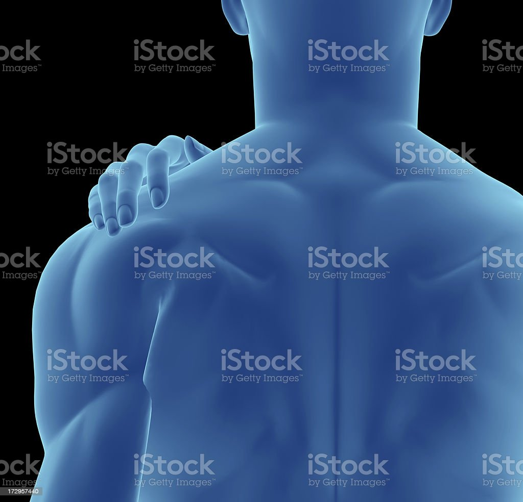 Muscular back of a man with hand over his shoulder royalty-free stock photo