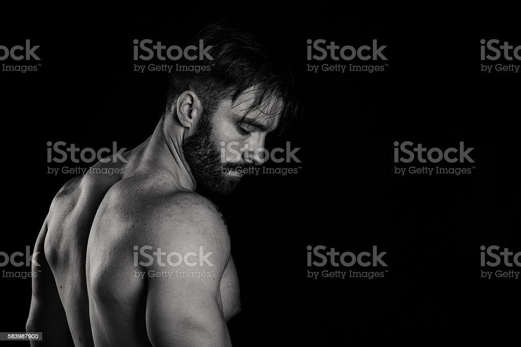 Muscular Bearded Male Torso and Back stock photo