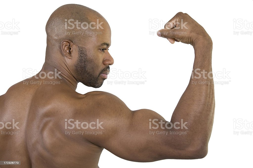 Muscular Black Man Flexing his Biceps, View from Back royalty-free stock photo