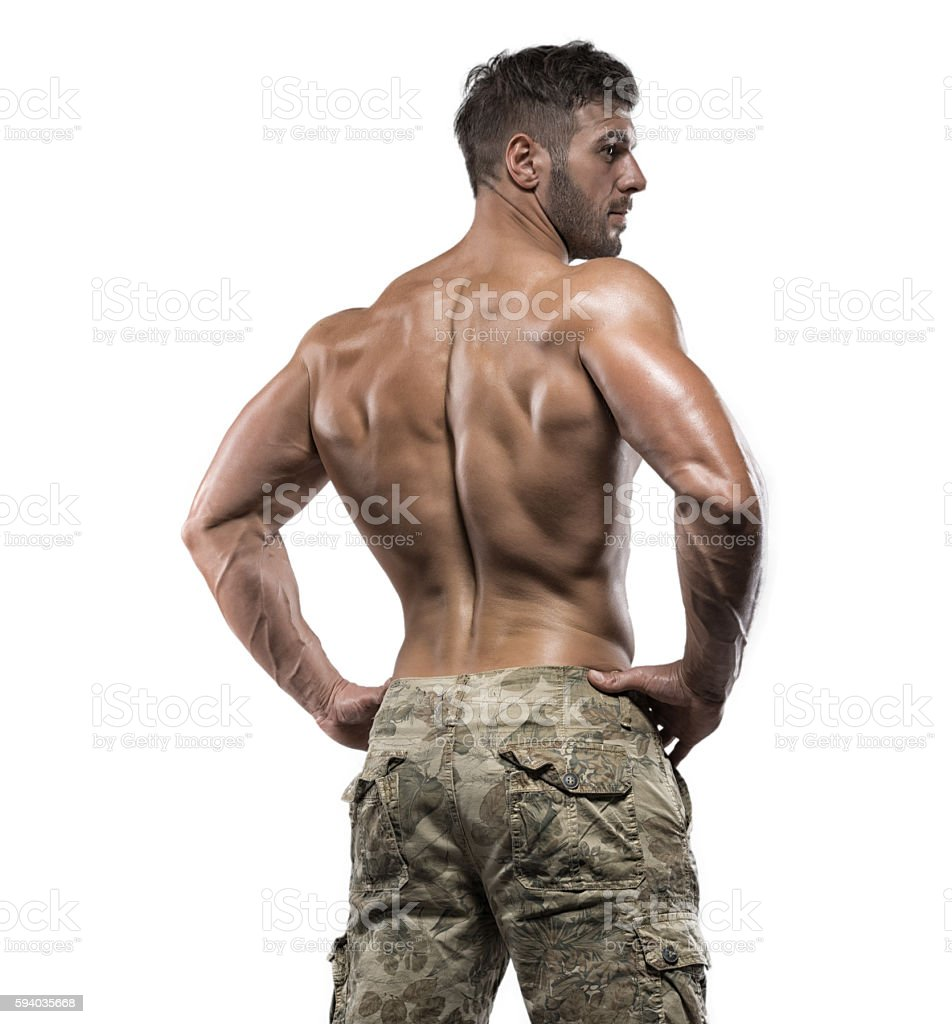 Muscular bodybuilder guy isolated over white background stock photo