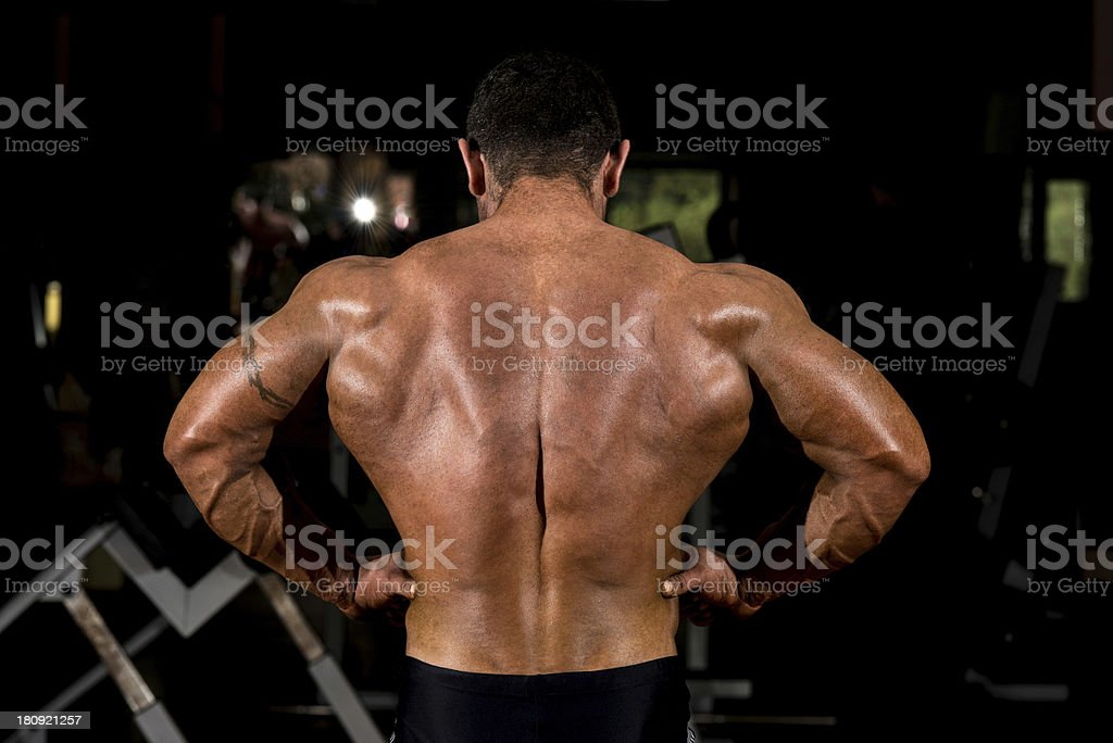 muscular bodybuilder showing back lat spread royalty-free stock photo