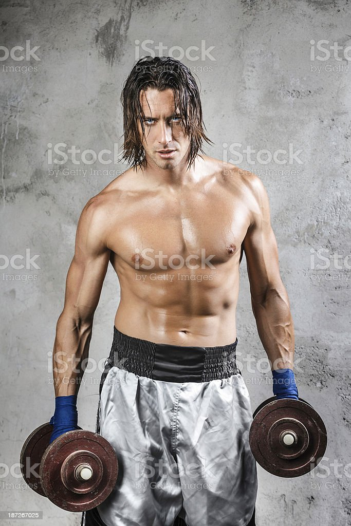muscular boxer looking at viewer royalty-free stock photo