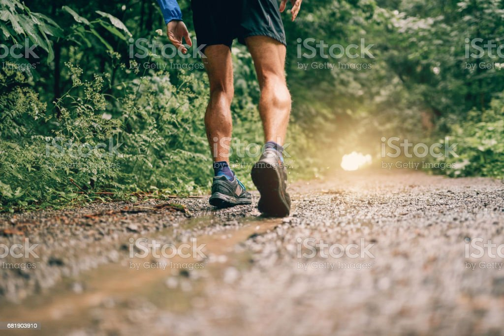 Muscular calves of fit male jogger training for cross country forest trail race in the rain on a nature trail stock photo