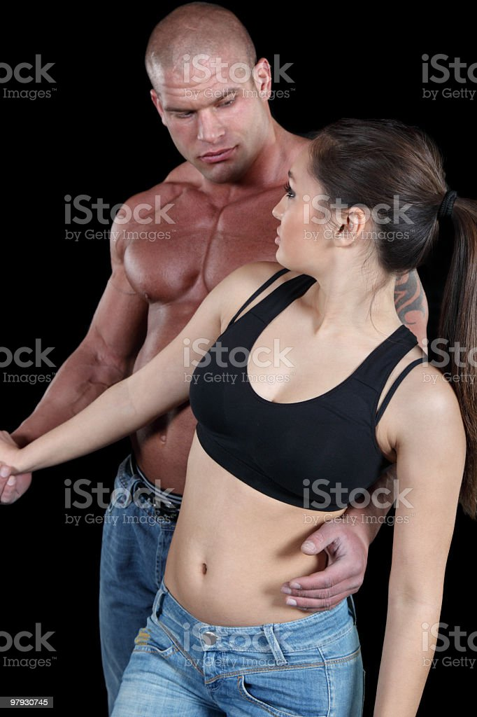 Muscular couple in love royalty-free stock photo