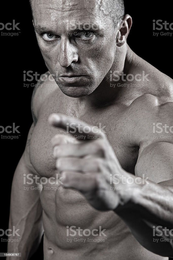 Muscular fighter royalty-free stock photo