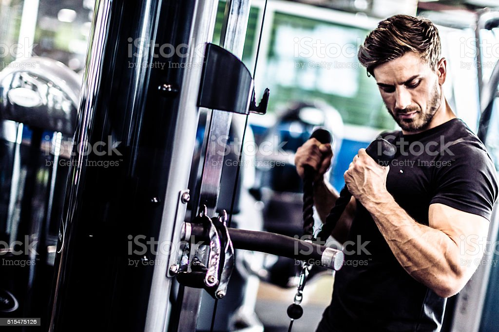 Muscular Fit Man Exercising in a Gym stock photo