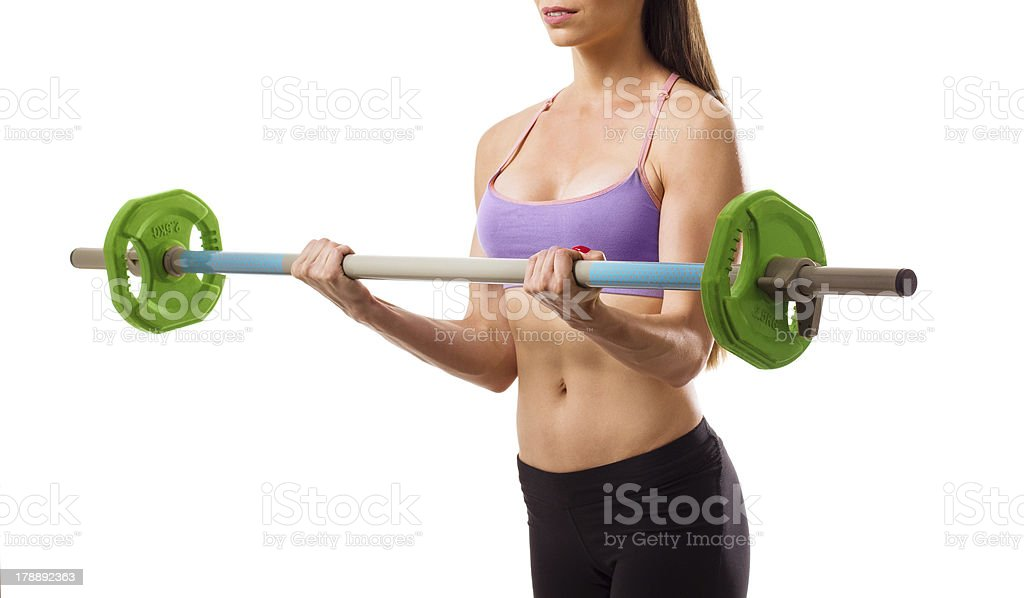 Muscular fit woman with barbell, isolated on white royalty-free stock photo