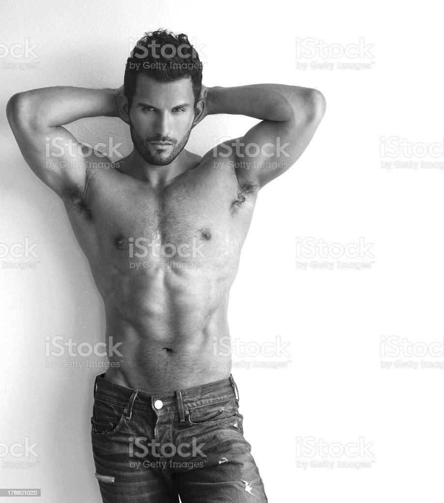 Muscular hunk stock photo