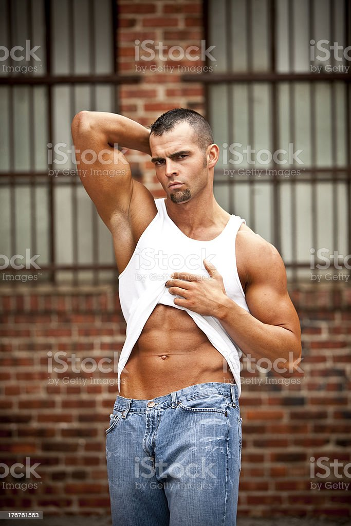 Muscular Male in Jeans royalty-free stock photo